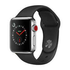 Reloj de Apple serie 3 38mm Gps + Celular-Banda De Acero Inoxidable-Negro Deporte