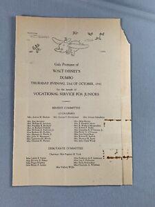 Vtg 1941 Gala Premiere Walt Disney Dumbo Program
