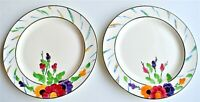Vintage Ivory Ware Pair Hancocks Plate Set of 2 Hand Painted 22.5cm diameter