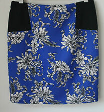 SUPRE BLUE, BLACK & WHITE PATTERNED STRETCH SKIRT - SIZE 12 APPROX