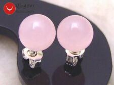 Trendy 8mm Pink Round Natural Jade Stud Earrings for Women Fine Jewelry ear133