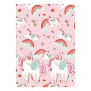 UNICORN RAINBOW Wrapping Paper Set 2 Sheets 2 Tags Party Birthday
