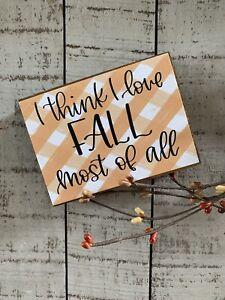 I Love Fall Plaid Block - Orange Autumn Sign Shelf Sitter - Farmhouse Country