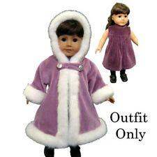"""New """"Plum Velvet Coat & Dress"""" Outfit #85696L fits 18"""" American Girl Dolls"""