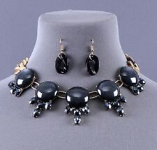 Anthropologie Lucite Chocker Style Necklace Black Lucite Stones