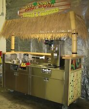Concession Cart For Smoothies Tiki Bar Food Stand Sink Hot Water Pump And Filter