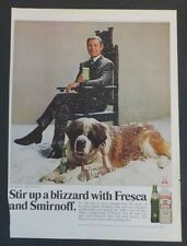 Original 1969 Print Ad SMIRNOFF Vodka Featuring Johnny Carson St. Bernard