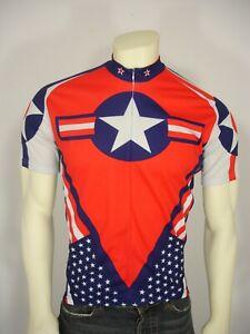 WORLD JERSEYS CAPTAIN AMERICA TEAM USA 3/4 ZIP CYCLING JERSEY TOP MEN'S L