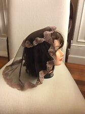 new cocoa brown  mantilla Catholic church chapel scarf lace Mass