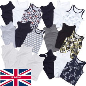 Younger Boys Just Essentials 3 Pack Cotton Vests Back To School White Blue 2-10y