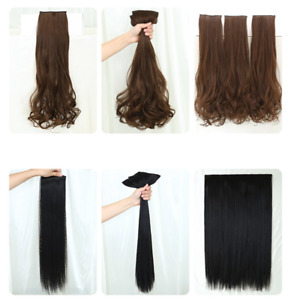 3Pcs 50/60cm Long Natural Straight/Curly Invisible Hair Clip in Hair Extensions