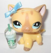 *AUTHENTIC* LITTLEST PET SHOP RARE 886 CREAM TAN KITTY CAT BOW BLEMISHED