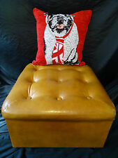 Immaculate Comfy Chesterfield Style Gold Mustard Tan  Leather Footstool Ottoman