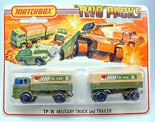 Matchbox TP15 Military Mercedes Truck & Trailer GROSSE 5 spoke Räder im Blister