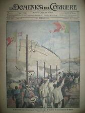 CASTELLAMMARE DE STABIA LANCEMENT CUIRASSé PIRATES LA DOMENICA DEL CORRIERE 1920