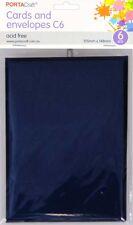 * PORTA CRAFT * Craft Card & Envelope C6 6 Pack Oriental Blue