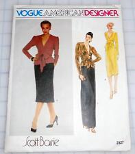Vintage VOGUE Designer SCOTT BARRIE Career EVENING DRESS Wrap Gown 12 UNCUT 2327