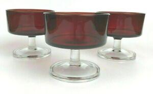 3 of Arcoroc RUBY RED Sherbet Dessert Stemware Luminarc Glass France COLLECTIBLE