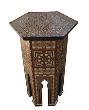 "29"" Height Handcrafted Moroccan Turkish Mother of Pearl Inlaid Coffee Side Table"