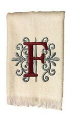 White Monogrammed Hand Towel with Burgundy and Gray Embroidery Design