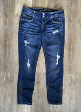 Almost Famous Women Size 11 Cropped Zip Leg Distressed Denim Blue Jeans Frayed