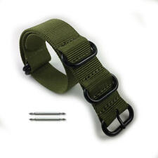 5 Ring Ballistic Army Military Green Nylon Replacement Watch Band Strap PVD
