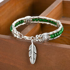Retro Boho Style Feather Turquoise Tibetan Silver Bangle Women Gypsy Bracelet