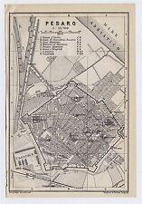 1909 ANTIQUE CITY MAP OF PESARO / URBINO / MARCHE / ITALY