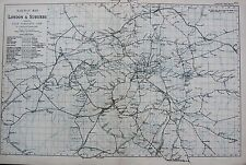 1906 LARGE  MAP LONDON & SUBURBS RAIL MAP TEDDINGTON HENDON ILFORD GROVE PARK