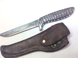 Vintage Gerber Shorty Hunting Knife & 1sT run Leather Sheath custom boredom engr