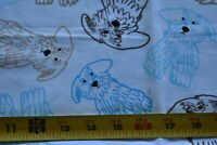 """27"""" Long, Blue Gold Brown Doodle Dogs on White Quilt Fabric, Kanvas/Lynn, N4848"""