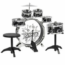 Quality Kids Toy Musical Instrument 11 Piece Drum Set w/ Stool Chair Drumsticks