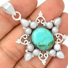 Sleeping Beauty Turquoise & Pearl  Sun Sterling Silver Pendant Jewelry SP204168