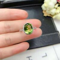 1.5ct Oval Green Peridot Engagement Ring Diamond Accent Halo 14k White Gold Over