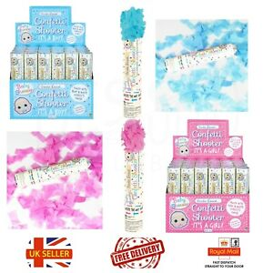 Boy Girl Gender reveal Confetti Shooter baby shower pink blue cannon poppers