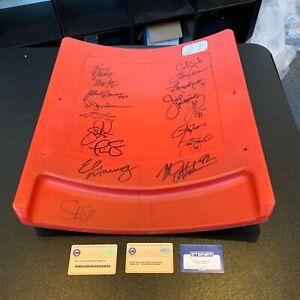 New York Giants Legends Signed Seatback Eli Manning Michael Strahan Steiner COA