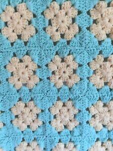 Vintage Granny Square Afghan Throw Baby Blanket Crochet 36 x 32 Yellow Aqua