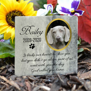 Pet Memorial Plaque Cat Dog Paw Photo Grave Marker Real Grey Marble Personalised