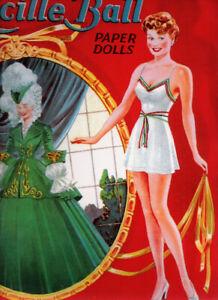 VINTAGE UNCUT 1944 LUCILLE BALL PAPER DOLLS~#1 REPRODUCTION~FANTASTIC/NOSTALGIC