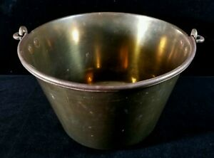 Antique American Brass Kettle #9 Wrought Iron Bail Apple Maple Hearth Ware FINE