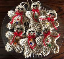 Gingerbread Men Crocheted Ornaments - Set Of 3 - New