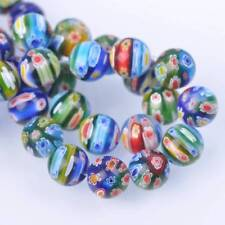 5pcs 14mm Round Mixed Millefiori Lampwork Glass Loose Spacer Beads DIY Finding