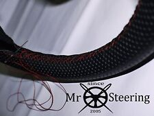 FOR PEUGEOT 107 BLACK PERFORATED LEATHER STEERING WHEEL COVER RED STRAP 05-14