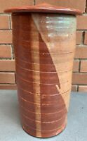 Tall Vintage Stoneware Ceramic Vase Urn Mid Century Modern Art Pottery Signed