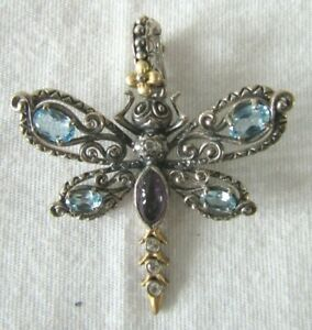 Barbara Bixby Sterling Silver & 18K Blue Topaz Dragonfly Enhancer