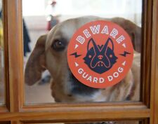 "(Quantity 2) - Beware of Guard Dog Window Decal Sign, 4"" x 4"""