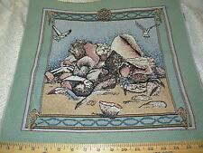 Conchas de Mar Gaviotas ~ Tapicería Almohada Panel tela ~ 43.2x43.2cm ~ TEJIDO