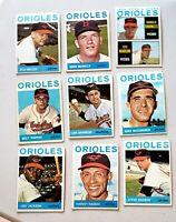 Lot of 9 1964 Topps BALTIMORE ORIOLES vintage baseball cards LUIS APARICIO Hi #