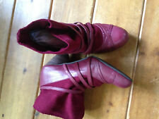 BC 8.5 Women's Red Leather and Fabric Bootie Boot Worn Once