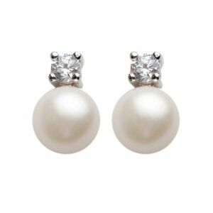 Pearl & Faux Diamond Stud Earrings Sterling Silver Freshwater Princess Style